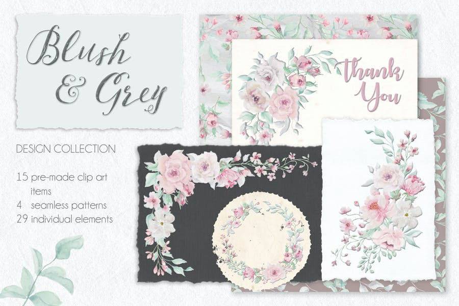 Blush and Grey Watercolor Design Set