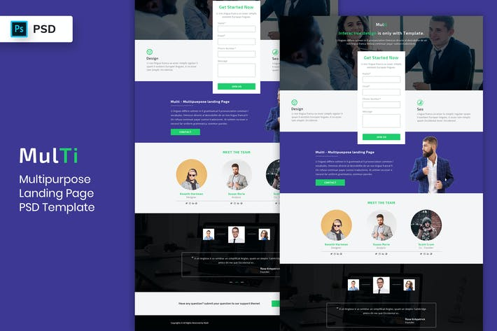 Thumbnail for Multipurpose - Landing Page PSD Template-04