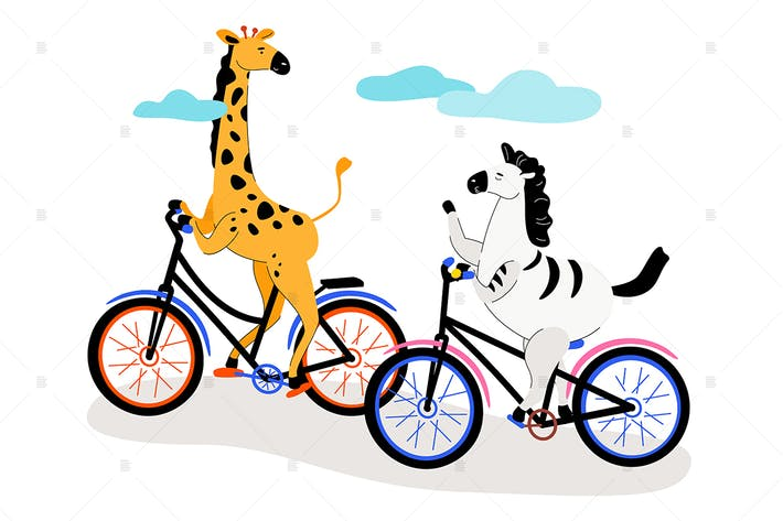 Thumbnail for Zebra and giraffe cycling - flat illustration
