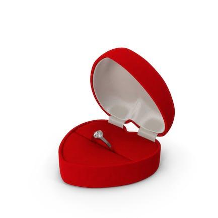 Rote herzförmige Samtring-Geschenkbox
