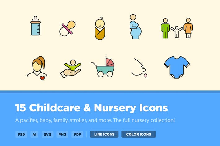 Thumbnail for 15 Childcare & Nursery Icons