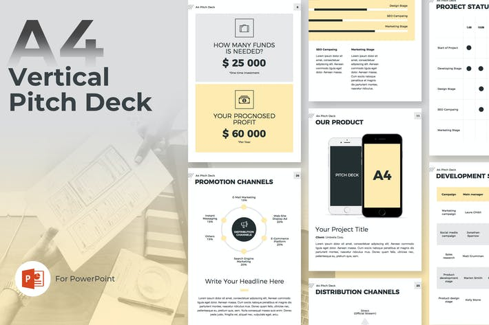 Thumbnail for A4 Pitch Deck Vertical PowerPoint Template