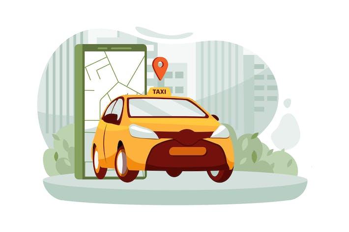Smartphone mit Route und Punktstandort in einer Stadt