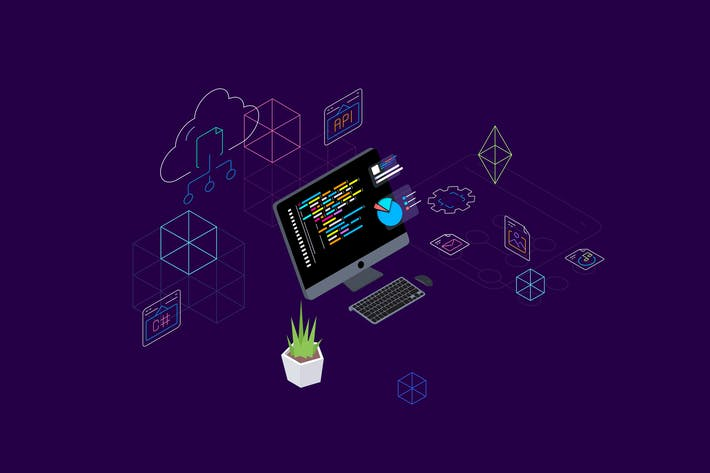 Thumbnail for Blockchain Platform Isometric Illustration 7