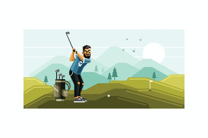 Thumbnail for Playing Golf on the Field Graphics Illustration