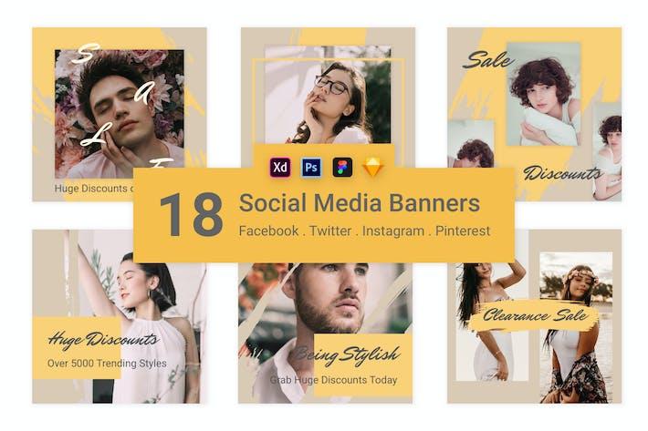 Thumbnail for 18 Social Media Banners Kit (Vol. 8)