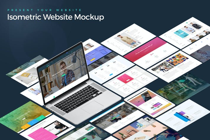 Thumbnail for Isometric Website Mockup