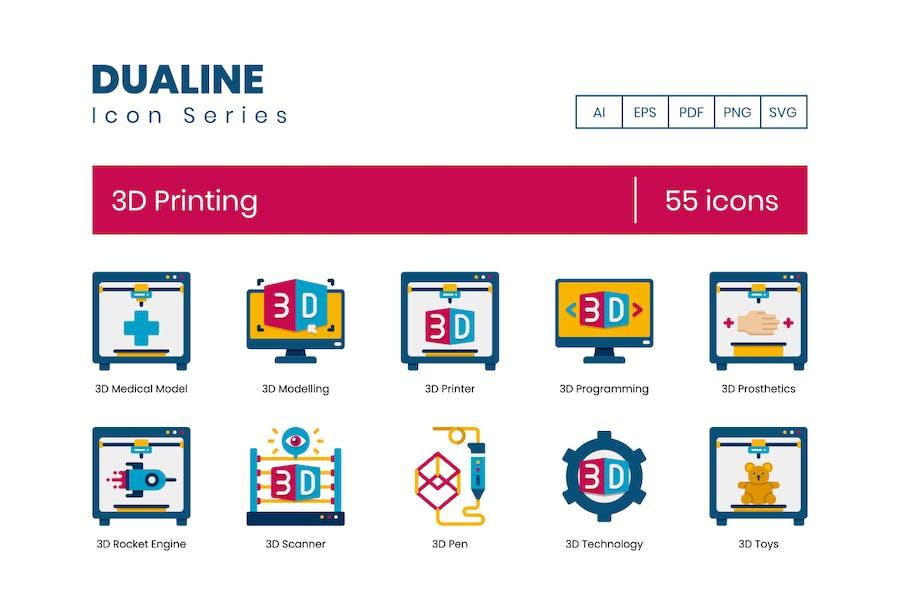55 3D-Druck-Icons - Dualine Flat Series