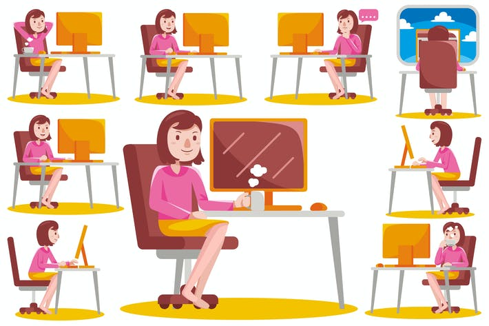 Thumbnail for Woman Working with Computer at Home (Vector)