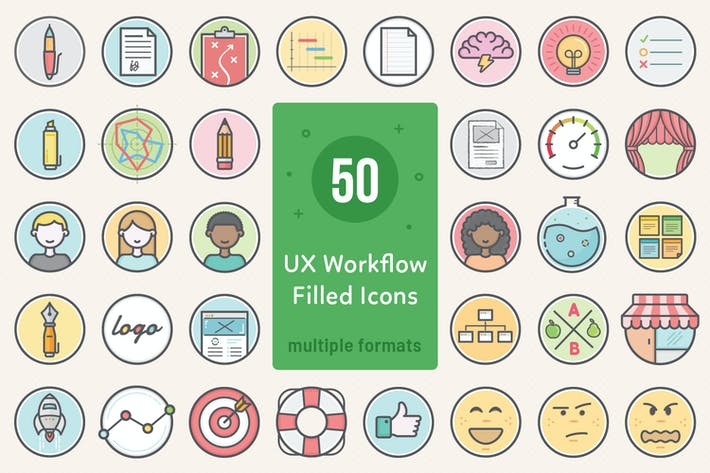 Thumbnail for UX Workflow - Icons Filled Version