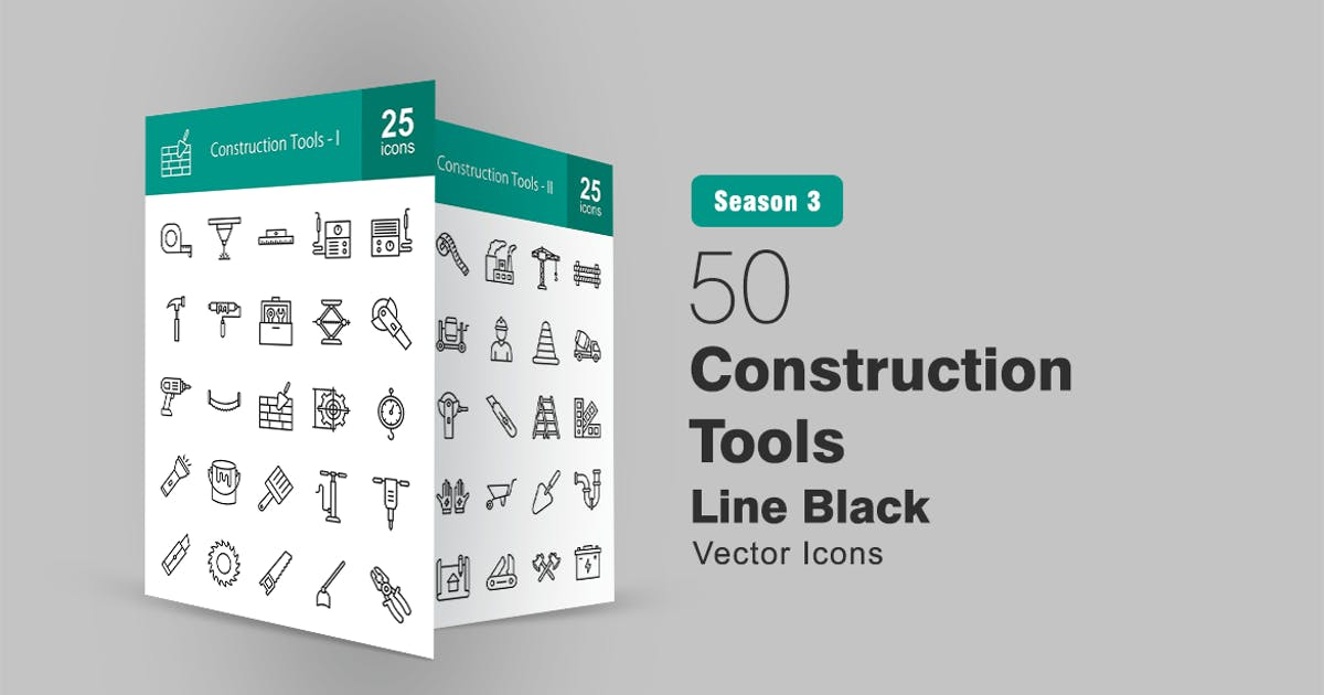Download 50 Construction Tools Line Icons by IconBunny