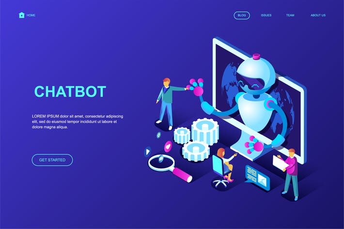 Cover Image For Chat Bot Isometric Landing Page Template
