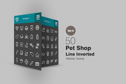 50 Pet Shop Line Inverted Icons