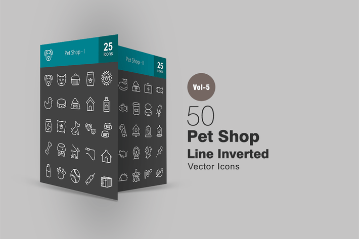 Thumbnail for 50 Pet Shop Line Inverted Icons