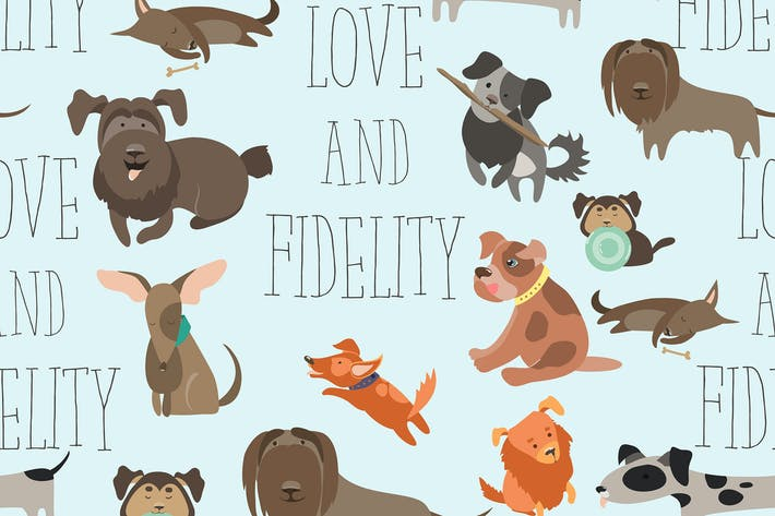 Cover Image For Vector seamless pattren funny Mixed Breed dogs