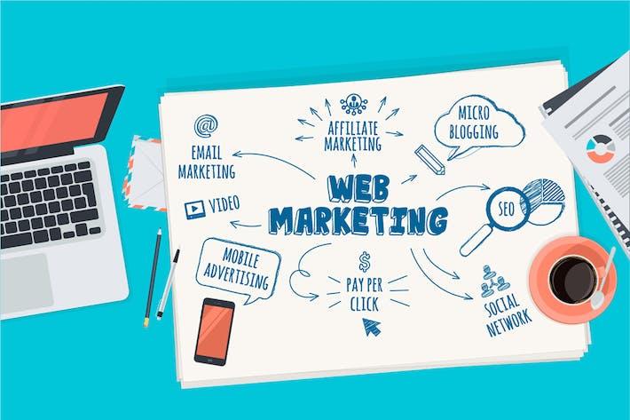 Thumbnail for Концепция плоского дизайна для веб-маркетинга
