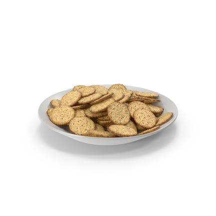 Plate with Circular Crackers with Seasoning
