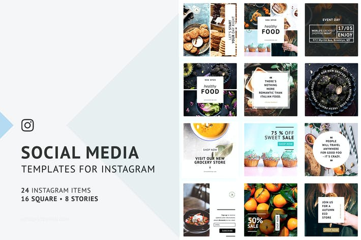 Thumbnail for 24 Instagram Templates