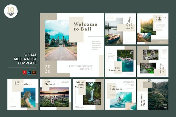 Thumbnail for Путешествия на Бали Социальные медиа Kit PSD & AI Шаблон