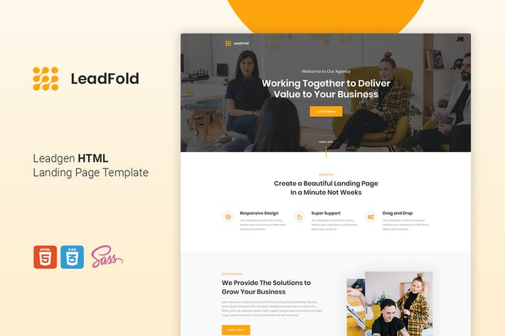 Thumbnail for LeadFold - Lead Generation HTML Landing Page Templ