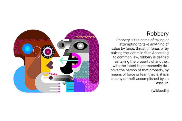 Женщина выполняет грабеж вектор иллюстрацию