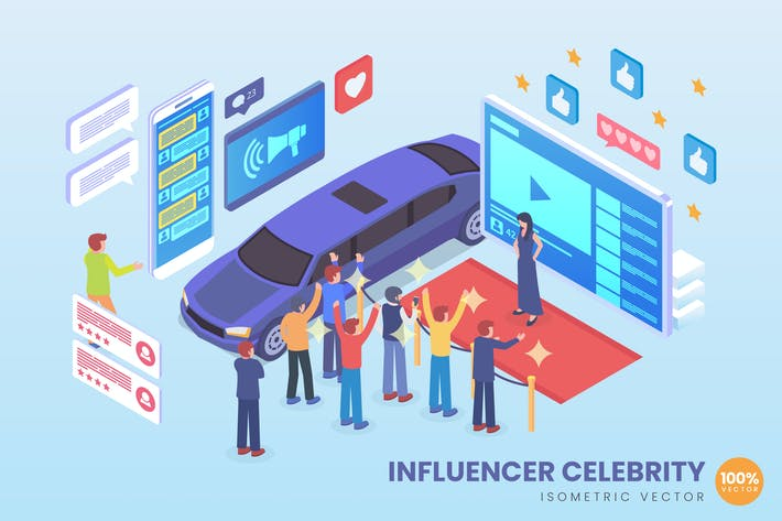 Thumbnail for Isometric Influencer Celebrity Vector Concept