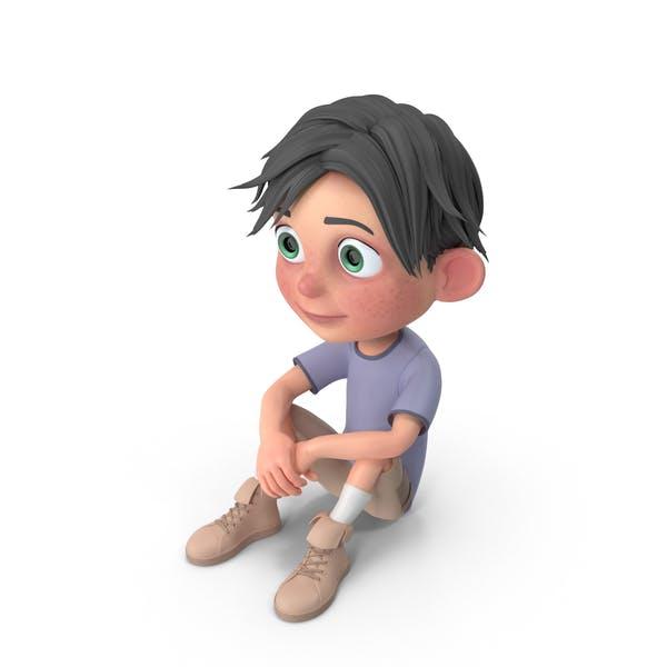 Cartoon Boy Jack Sitting On floor