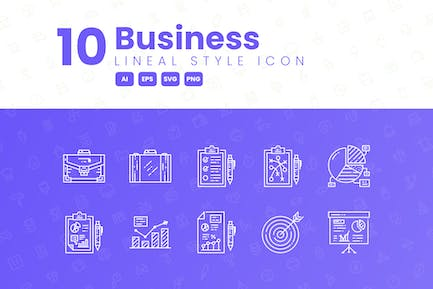 10 Business Detailed Icon Collection