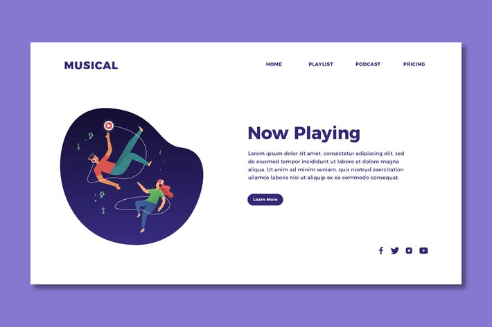 Thumbnail for Listening to Music - Landing Page Template