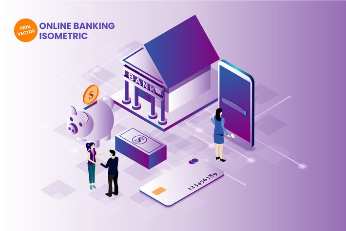 Thumbnail for Isometric Online Banking Vector Illustration