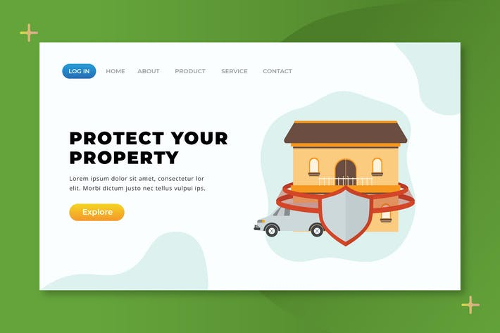 Thumbnail for Protect Your Property - XD PSD AI Landing Page