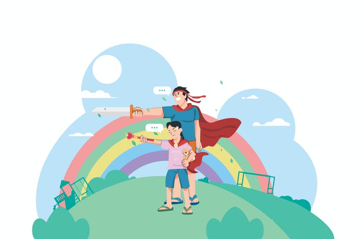 Thumbnail for Father & Daughter Activity  - Vector Illustration