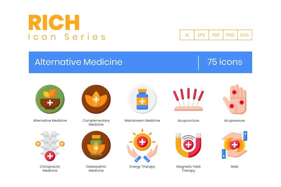 75 Alternativ-Medizin-Icons - Reiche