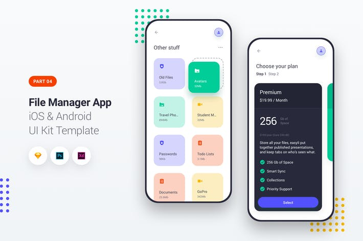 File Manager App iOS & Android UI Kit Template 4