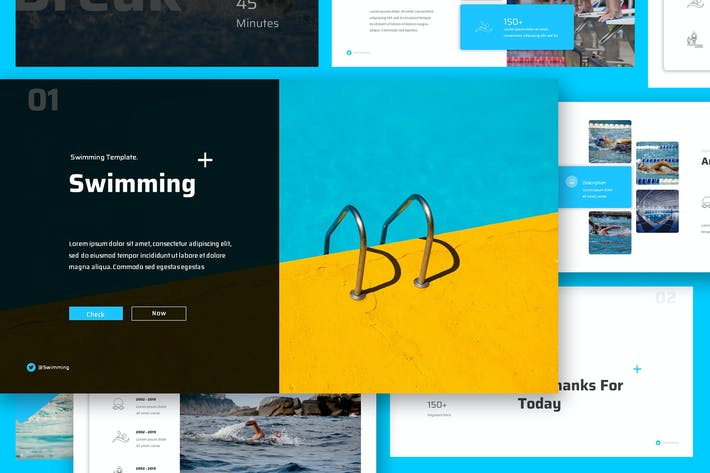 Thumbnail for Swimming Google Slides Presentation Template