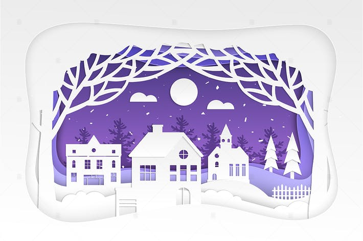 Thumbnail for Winter town - modern paper cut illustration