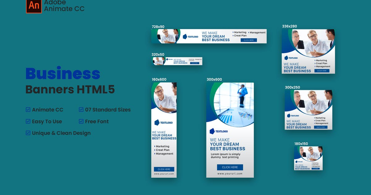 Download Business Web Banners Ad HTML5 - Animate CC by Be_Achemit
