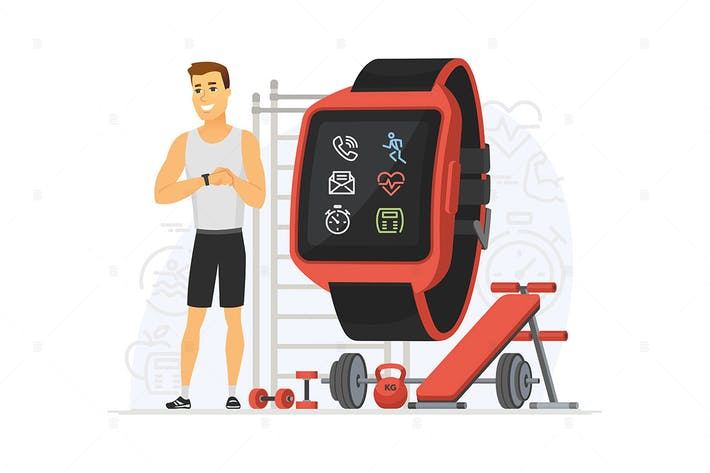Thumbnail for Fitness tracker - cartoon character illustration