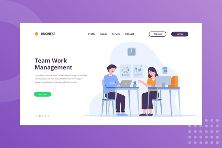 Thumbnail for Team Work Management Landing Page Illustration
