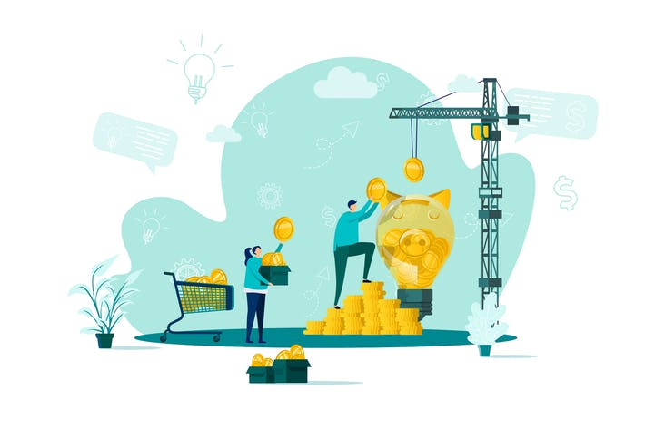 Crowdfunding Flat Concept Vektor illustration