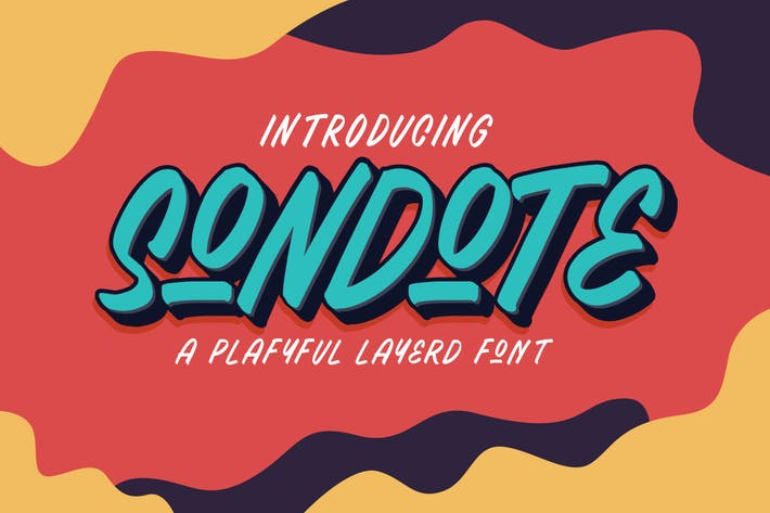 Thumbnail for Sondote Playful Extrude font