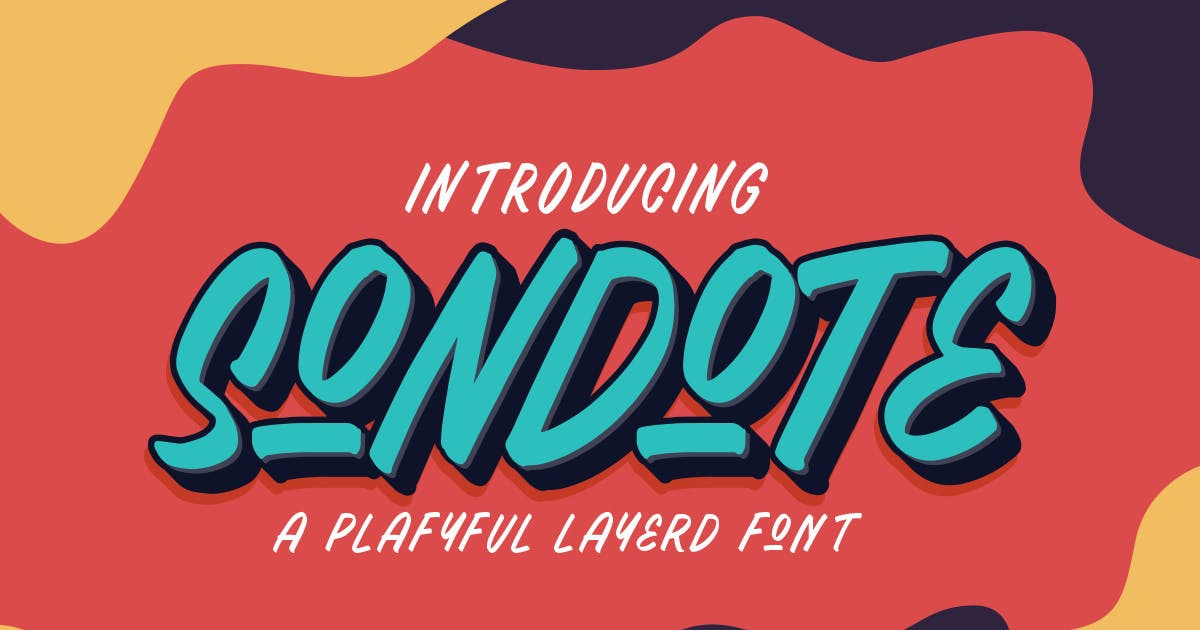 Download Sondote Playful Extrude font by MartypeCo