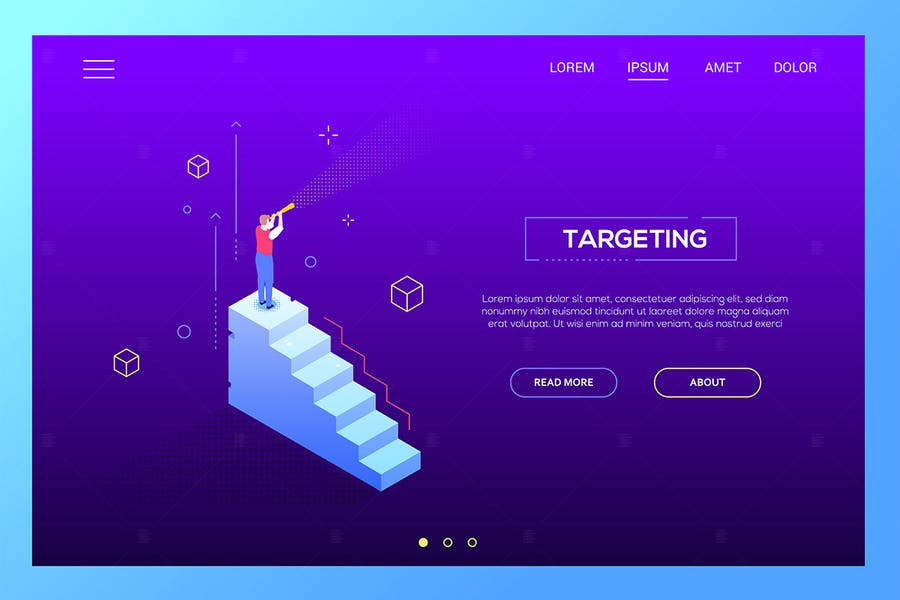 Targeting concept - isometric vector web baner