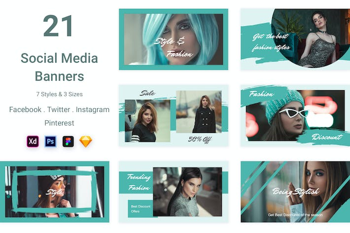 Thumbnail for 21 Social Media Banners Kit (Vol. 4)