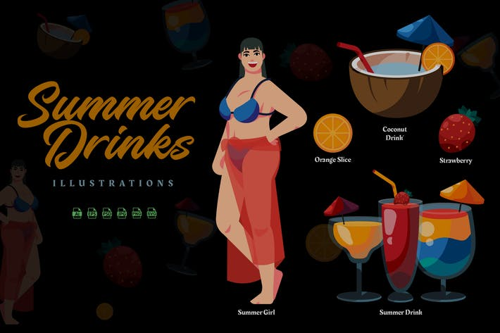 Thumbnail for Summer Drinks - Illustrations
