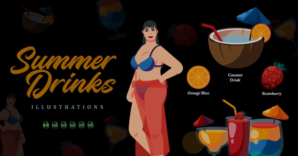 Download Summer Drinks - Illustrations by ilhamtaro