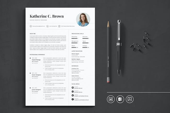 Cover Image For Professional CV Resume Indesign Template Vol.36