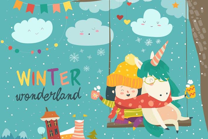 Thumbnail for Niedliches Mädchen und Einhorn schwingen im Winterpark.