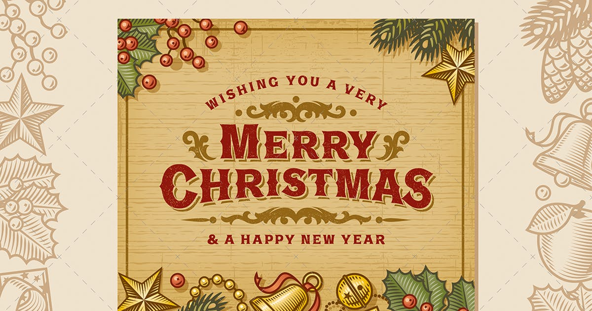 Download Merry Christmas Vintage Card by iatsun