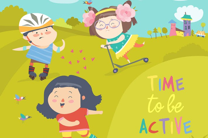 Cover Image For Cheerful active boys and girl having fun